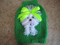 Dog Sweater Green with Maltis  By Nina's Couture Closet