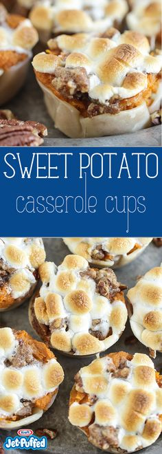 Make mini versions of a holiday classic with a Sweet Potato Casserole with Marshmallows recipe. Our Sweet Potato Casserole with Marshmallows is delicious! Thanksgiving Recipes, Fall Recipes, Holiday Recipes, Thanksgiving Feast, Sweet Potato Casserole, Sweet Potato Recipes, Bean Casserole, Tapas, Good Food