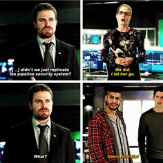 """""""Damn, blondie!"""" - Rene, Rory, Felicity and Oliver #Arrow"""