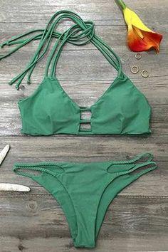 Cupshe Ice Cold Summer Strappy Halter Bikini Set