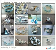 Birthstone for March - aquamarine. a treasury on Etsy.  See in on Handmade Jewelry News.