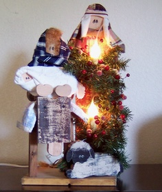 Lighted Primitive Nativity, Christmas Crafts (Saw this crafters work at a recent craft fair, just LOVE her stuff! MUST take a look at everything! Bought this nativity, my 1st decoration for the season! I just LOVE it!!!)