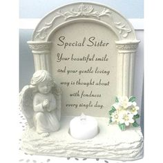 Memorial T-Light Candle Holder Angel Cherub wings With Flickering Tribute Plaque