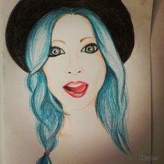 blue hair woman - colored pencil