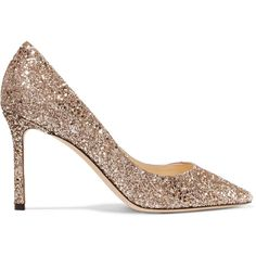 Jimmy Choo Romy 85 glittered leather pumps ($605) ❤ liked on Polyvore featuring shoes, pumps, gold, leather slip on shoes, leather pointed toe pumps, pointed-toe pumps, slip-on shoes and glitter pumps