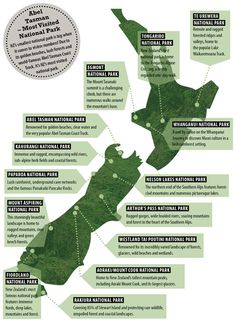 New Zealand National Parks. A must for anyone who is travelling to NZ - this handy map slows you all New Zealand's national parks and what to do while you're there