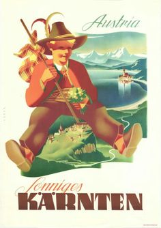 Carinthian Vintage Travel Poster 1950