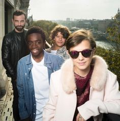 Louis Vuitton's Creative Director; Nicolas Ghesquière with Gaten Matarazzo, Caleb McLaughlin & Millie Bobby Brown