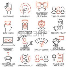 services icon: Vector set of 16 icons related to business management, strategy, career progress and business process. Mono line pictograms and infographics design elements - part 27
