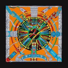 """140 shawl Hermès """" Ceintures et liens """" by Laurence Bourthoumieux"""