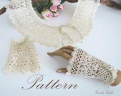 Emelie.Pattern crochet boho lace collar and bracelet cuff.Tutorial PDF file instructions crochet. Crochet jewelry collar,mitts.