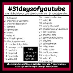 Mandy Jean Chic: Ready to Start a Youtube Channel? Join the #31day... More