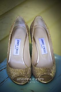 The bride rocked some sparkly Jimmy Choos.  Photo by Andrea Casey.