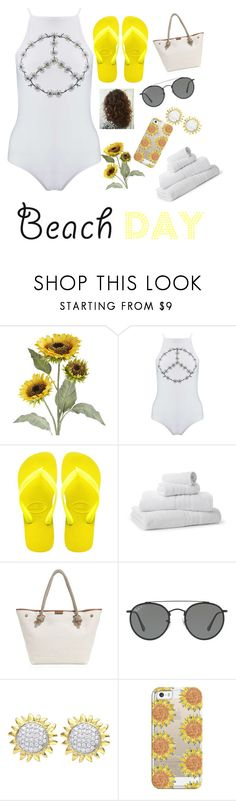 """""""#sunflowers #beach #contest♥️🤙🏼🌻🌊💦"""" by queen71304 ❤ liked on Polyvore featuring Pier 1 Imports, Miss Selfridge, Havaianas, Saks Fifth Avenue Collection, MICHAEL Michael Kors, Ray-Ban, Beverly Hills Charm and Casetify"""