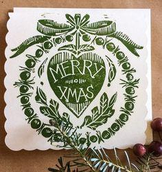 Hand Printed Lino Cut Christmas Card  Amanda Colville