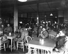 The Camp Sherman YMCA caffeteria for segregated troops of color, WWI.  The YMCA was in Section O, building 75. It was the center of social life and recreation for these soldiers.