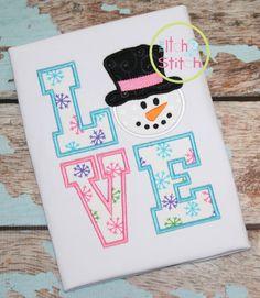 I2S Snowman LOVE Applique