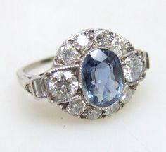 Cornflower Blue Sapphire & Diamond Cluster Ring  1930s