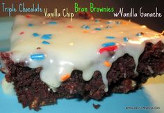 Recipes For My Boys: Triple Chocolate Vanilla Chip Bran Brownies w/Vanilla Ganache