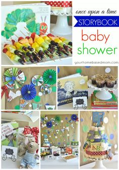 Baby Shower This storybook baby shower is so fun! All the food matches a children's storybook and decor was made out of book pages!This storybook baby shower is so fun! All the food matches a children's storybook and decor was made out of book pages! Fiesta Baby Shower, Baby Shower Fun, Baby Shower Favors, Shower Party, Baby Shower Parties, Baby Shower Themes, Baby Shower Decorations, Baby Boy Shower, Baby Shower Gifts