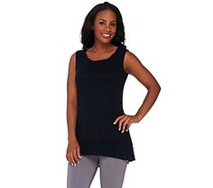 LOGO by Lori Goldstein Sweater Knit Tank with Challis Details