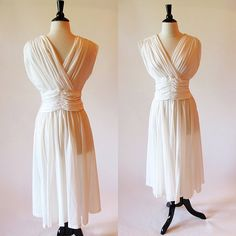 50s white dress / Marilyn Monroe dress / 50s gown by CTMercantile, $110.00