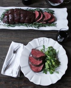 Slow-Roasted Beef Tenderloin with Rosemary (filet/beef tenderloin, olive oil, salt, pepper, rosemary)