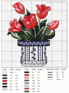 Bordados de macetas con flores en punto de cruz