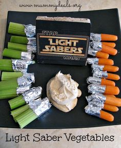 These super simple Light Saber Vegetables from @Clair @ Mummy Deals are a great way to get your kids to eat veggies or perfect for a #starwars party. The post includes a homemade clean eating dip recipe for them!