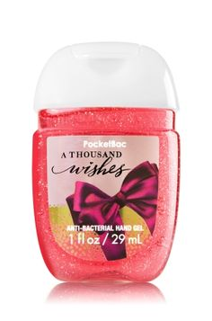 A Thousand Wishes - PocketBac Sanitizing Hand Gel - Bath & Body Works - Now with more happy! Our NEW PocketBac is perfectly shaped for pockets & purses, making it easy to kill 99.9% of germs when you're on-the-go! New, skin-softening formula conditions with Aloe & Vitamin E to leave your hands feeling soft and clean. Plus, this special edition includes a hint of glitter for festive fun!