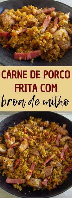 If you like to prepare different and traditional recipes, we suggest this delicious recipe of fried pork with Portuguese cornbread! Fry the meat in olive oil and sprinkle with a tasty mixture of cornbread, onion, garlic and coriander. Pork Recipes For Dinner, Meat Recipes, Real Food Recipes, Food Processor Recipes, Cooking Recipes, Cornbread Recipes, Family Recipes, Portuguese Recipes, Portuguese Food