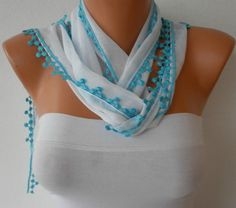 White Scarf   Cotton  Scarf  Headband Necklace Cowl by fatwoman, $15.00