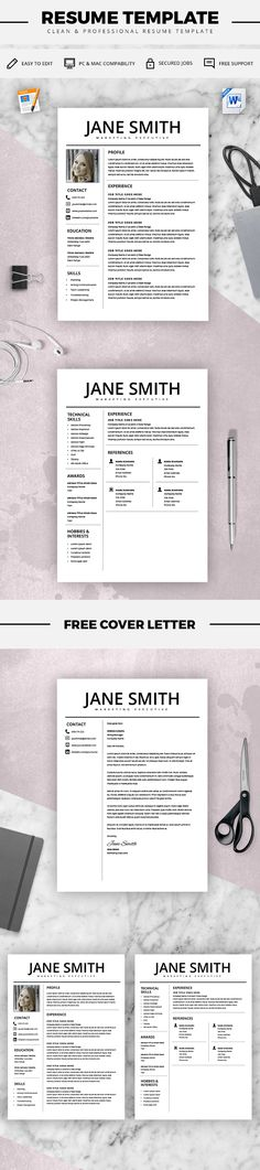Two Page Resume Template - Resume Builder - CV Template - Free - cover letter for resume template free
