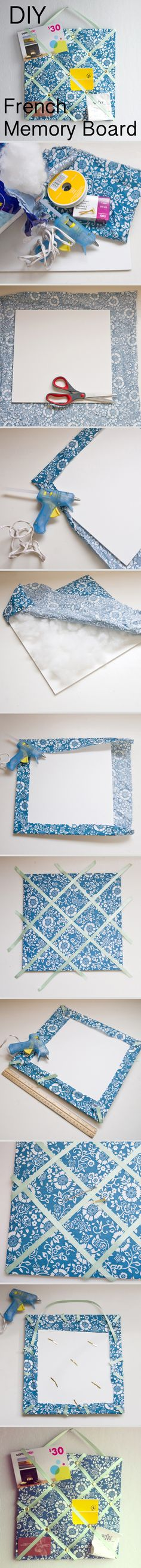 """How to make a memory board. I was just trying to figure out how to make a pincushion using a ribbon I love to help tuft it! A little more foam and I have a winner! Diy Projects To Try, Crafts To Do, Craft Projects, Arts And Crafts, Sewing Projects, Memo Boards, Cork Boards, Diy Memo Board, Pin Boards"