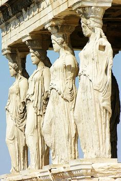 11. The Caryatids Porch of the Erechtheion, Athens, 421-407 B.C. Greek women in doric chitons