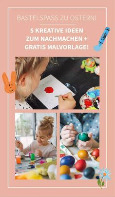 Basteln zu Ostern: 5 kreative Oster Ideen für Kinder + Malbuch zum Downloaden! Entdecke kreative Bastelideen zu Ostern! Mit Papier, Schere, Buntstiften und Ostereier kannst du einfache DIY Ideen zu Ostern mit deinen Kindern umsetzen. Mit unseren Malvorlagen kann deine Kind wunderschöne Ostermotive ausmalen und sie an Oma & Opa schicken. Lass dich auch von kreativen Texten für eure Osterkarten inspirieren. Diy Ostern, Easter Crafts, Easter Eggs, Painting, Paper, Bricolage, Kids Colouring, Coloring Pages For Kids, Simple Diy