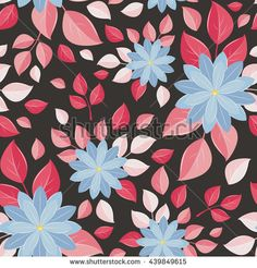 Seamless wall-paper, decorative flowers, black background. A bright print with unusual flowers.