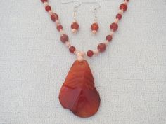 Red Fire Agate Gemstone Pendant Necklace and by jazzybeads on Etsy