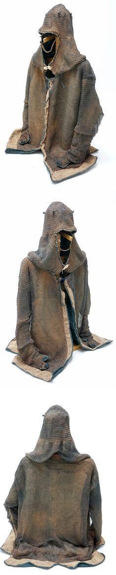 Japanese Edo Period kusari katabira and kusari zukin (mail armor jacket and hood).