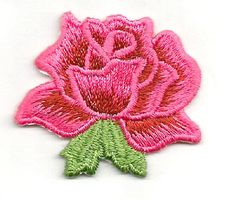 """ROSE PINK/WINE RED EMBROIDERED 1 5/8"""" IRON ON APPLIQUE"""
