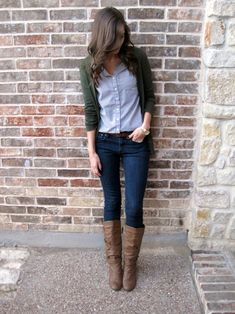 Classic / Fall • button down : cardi : skinnies : boots