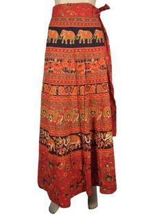 Elegant Women Wrap Skirt Bohemian Mod Orange Black Paisley Floral Print Wrap Around Skirts Mogul Interior, http://www.amazon.com/dp/B009SJ9UHI/ref=cm_sw_r_pi_dp_yZbHqb10D8A77