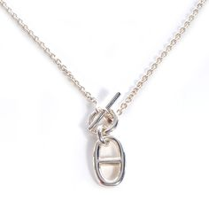 hermes necklace silver | HERMES Sterling Silver Amulette Chaine D Ancre Necklace
