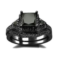 Princess Cut CZ 925 Sterling Silver Engagement Wedding Ring Black Gold... ($67) ❤ liked on Polyvore featuring jewelry, rings, cz engagement rings, princess cut ring, princess cut cz ring, engagement rings and sterling silver rings