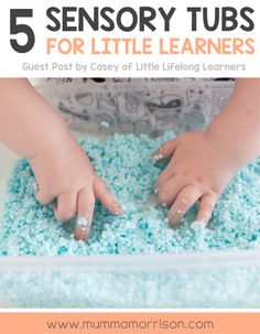 5 Sensory Tubs for Little Learners | Sensory play ideas for babies and toddlers | easy play for 6 month old babies | edible water beads | cloud dough | colour mixing | water play |