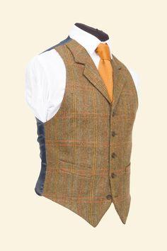 Patrick Waistcoat Amber Multicheck Vintage Shetland Tweed