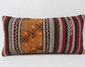 HAND WOVEN perfect kilim cushion lumbar pillow cover large sofa pillow outdoor pillow cover floor cushion cover orange pillow sham red 19730