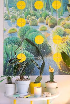A while ago, IXXI asked me if I wanted to create my own IXXI. My home office, where I spend so much time, needed a little something new on the wall, so here we are. I turned a photo of the gorgeous botanical garden Jardins Mossèn Costa i Llobera in Barcelona into a JOELIXXI ;) I added some yellow dots