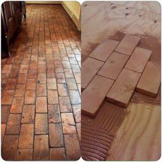 Floor made using end pieces of 2X4s. Would need to grout or caulk -- if grout…