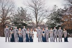 Elegant Winter Bridal Party - gray and navy blue outfits look amazing in the snowy landscape!